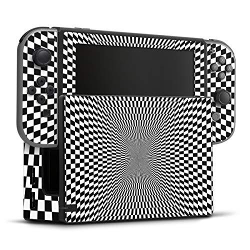 DeinDesign Skin kompatibel mit Nintendo Switch Folie Sticker kariert Illusion Retro