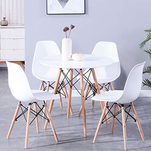 Uderkiny Essgruppen-A rund Esstisch und 4 Stühl eine MDF-Tischplatte und Stühle im nordischen Stil, Geeignet für Restaurants Küchen Balkone Büros usw (Weiß)