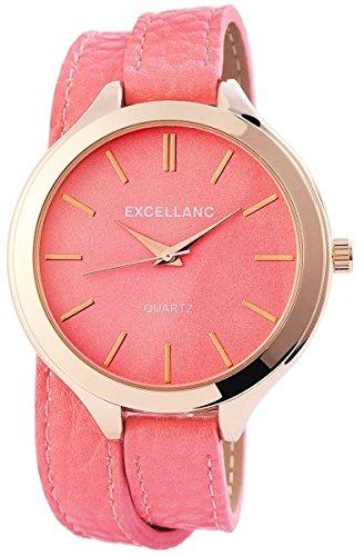Excellanc 199335600001 - Reloj de Pulsera Mujer, imitación de Cuero, Color Rosa