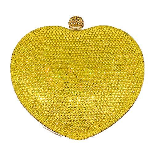 The only good quality Frauen Diamant Herzform Party Abendtasche Hochzeit Brautkleid Haken Tasche Kette Schulter Messenger Bag Wallet Größe: 15 * 6 * 14cm (Farbe : Yellow)