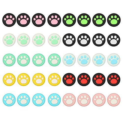 40 Stück 10 Farben Cat Claw Design Joystick-Abdeckungssätze, Daumengriffkappen kompatibel mit Nintendo Switch Lite, weiche Silikon-Joystick-Abdeckung für Joy-Con-Controller