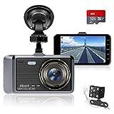 Caméra de Voiture, Abask Dashcam 4 Pouces Full HD 1080P Grand Angle 170° Vision Nocturne Avant Arrière Double Camera Voiture avec Capteur G, WDR, Enregistrement en Boucle, Détection de Mouvement