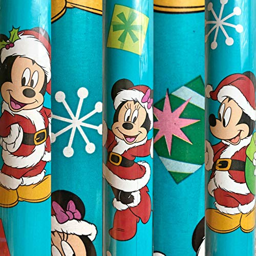 2 Rolls Disney Mickey Minnie Mouse Christmas Wrapping Paper 40 sq ft Total