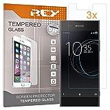 REY [Lot de 3] Verre Trempé pour Sony Xperia XA1, Protecteur d'écran qualité supérieure