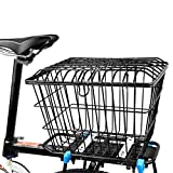 GFYWZZ Bike Rear Basket for Shopping Camping, Wire Storage Basket Quick Release Rust Proof Bicycle Lift Off Baskets with Holder,Large