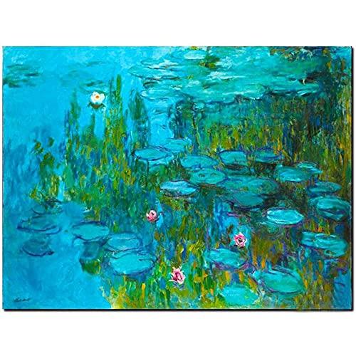 Diamond Painting Lirios De Agua De Claude Monet Art Craft Kit Completo Regalo De Gran Tamaño Mosaico Decoración Rhinestone Bordado Punto De Cruz Diamante Completo DIY 5D,Taladro Cuadrado,90x12