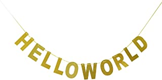 Hello World Banner Gold Glitter - Baby Shower Bunting - Welcome baby Garland Flag
