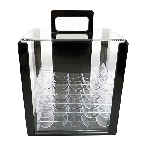 Yuanhe 1000 Chip Clear Acrylic Poker Chip Carrier-Includes 10 Chip Racks
