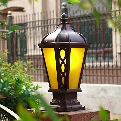 GAXQFEI Poste Luces Paisaje Luces de Pilar Villa de Jardín Lámpara de Columna Impermeable Al Aire Libre Luz de Vidrio Vintage Césped a Prueba de Lluvia Pasillo Porche Alumbrado Público