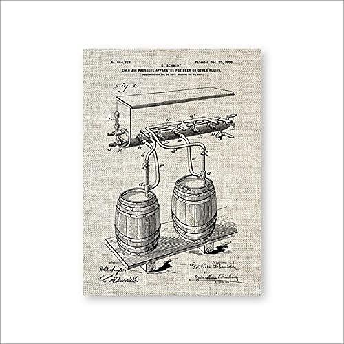 Barril de cerveza Grifo de presión de aire frío Impresiones de patentes Arte de la pared Carteles Decoración de la habitación Plano de la vendimia Lienzo regalo Cuadro de pintura Sin marco-A_50x70cm