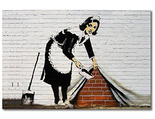 Tableaux-XXL® Impression sur Toile Banksy No.19 120x80cm - 6 Tailles Disponibles. Prêt à accrocher. Tendu sur châssis en Bois. des Motifs imprimés Originaux pour Chambre à Coucher, Chambre d'enfant