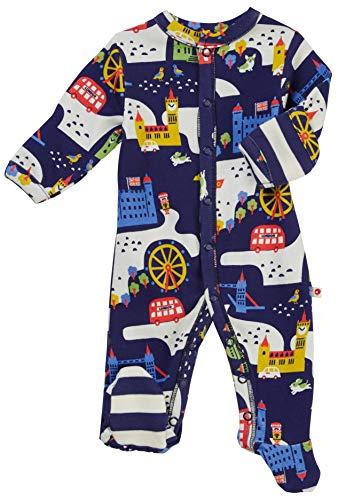 Piccalilly Londres Souvenir Pijama para bebé con pies, suave algodón orgánico libre de químicos