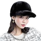 FOLDING ハット 帽子 調節可能なバックル、厚い裏地、広いろうばとふわふわの冬の柔らかいふわふわの冬の耳の暖かいイヤーマフを持つ毛皮のキャップ キャップ (Color : Black)