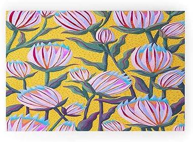 "Society6 72057-wcmatl Sewzinski Protea Flowers On Yellow Welcome Mat, 36"" x 24"""