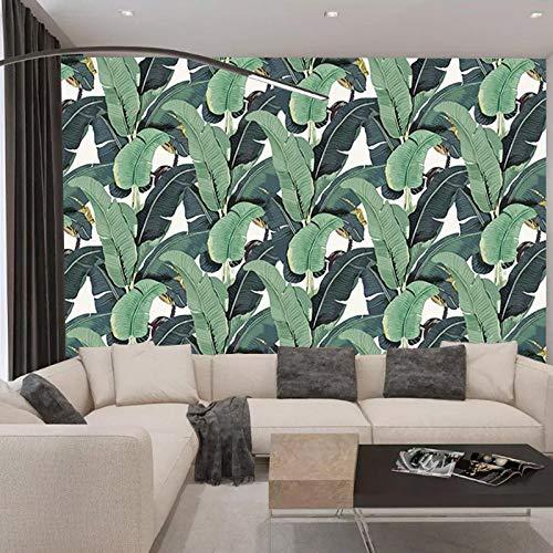 TV sfondo muro foresta pluviale tropicale foglie di banano soggiorno camera da letto su misura divano non tessuto TV sfondo muro carta da parati 3D fotomurali murale adesivo muro adesiv-250cm×175cm