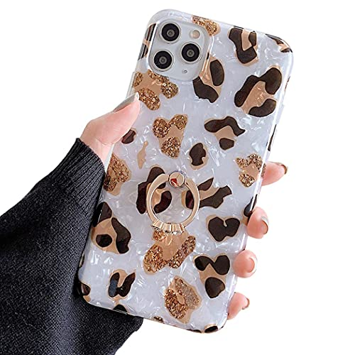 Reaky for iPhone 11 Hülle mit Ring Leopard iPhone Hülle Cheetah Print Handyhülle Stoßfeste TPU Stoßfänger Schutzhülle