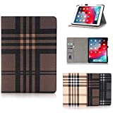 HuiFlying iPad Pro 12.9 Case 2018,Slim Grid Pattern Design Flip Stand Smart Wallet Case with [Auto Sleep/Wake Function]&[Credit Card Slots] Compatible with Apple iPad Pro 12.9' 2018(3rd Gen),Brown