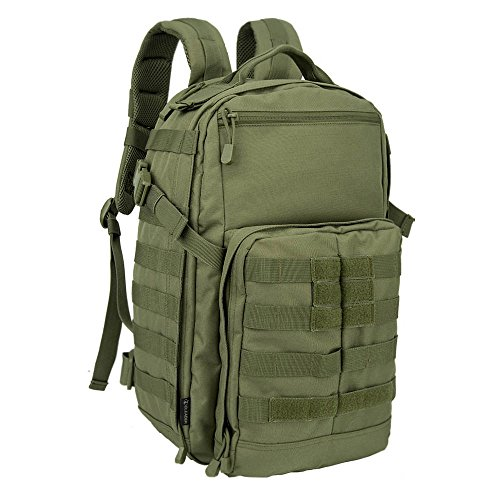 OLEADER Military Tactical Backpack Small Army Assault Pack Army Molle Bug out Bag Backpacks Rucksacks for Outdoor Hunting Camping Hiking And Trekking 30L,Green