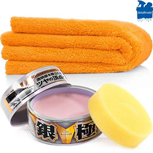 detailmate Wachs Set: Soft99 Extreme Gloss Wax The Kiwami Light, Carnauba Autowachs Lackversiegelung mit Schwamm, 200g, orange Baby Poliertuch Ultra Flauschiges Mikrofaser Poliertuch 550 GSM