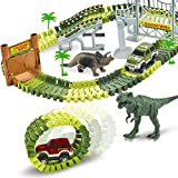 AUUGUU Dinosaur Toys, Best Gift for Kid Boys Age 3 4 5 Year Old, Create A Dinosaur World Road Race with 142 Pieces Tracks, 2 Dinosaurs, and 2 Cars.