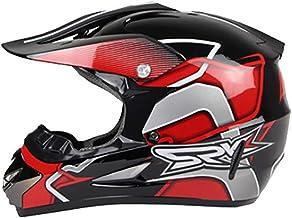 Personalización exclusiva Off-road mountain full face casco de motocicleta clásico bicicleta carreras casco motocicleta a campo traviesa bicicleta de montaña casco rojo/plata Conducción segura