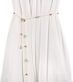 ZYDP Women's Pearl Waist Belt Chain Sweater Chain Waistband Chains (Color : Green)