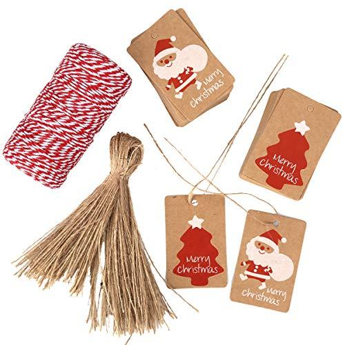 Weihnachten Geschenkanhänger, ZesNice 100Stk. Kraftpapier Anhänger Papieranhänger Etiketten Dekoanhänger und 100 Jute Schnur und 100M Bänder Baumwolle Schnur für Weihnachten Geschenke zum Basteln