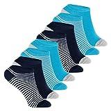 Footstar Kinder Sneaker Socken (8 Paar ) Bunte Kurzsocken für Mädchen & Jungen - Blau geringelt 35-38