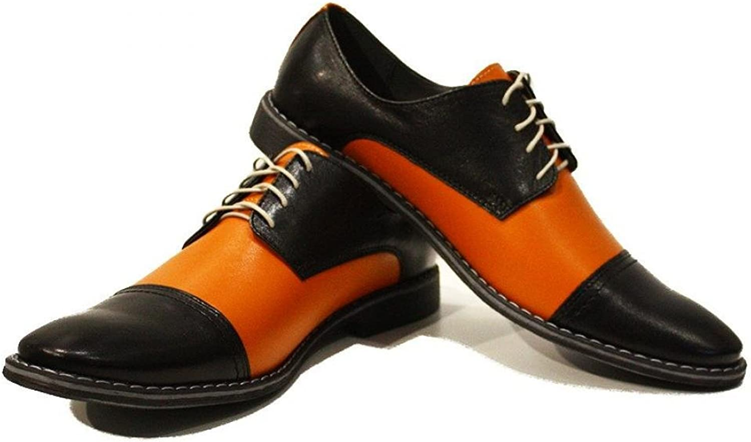 Modello Abaco - Handmade Italian Leather Mens color orange Oxfords Dress shoes - Cowhide Smooth Leather - Lace-Up