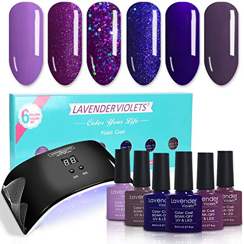 Lavender Violets Nail Gel Polish Bundle Set of 6 Colors Gel Kit and LED UV Nail Lamp Light with Timer Auto-sensor