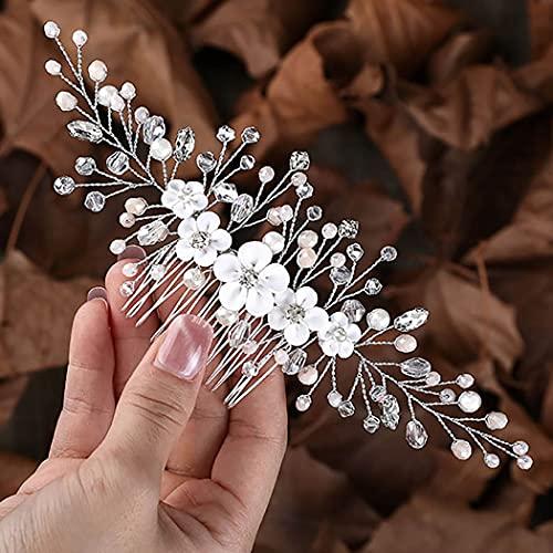 Fashband Peine para el pelo de la boda de la flor de cristal plateado Peines accesorios para el pelo nupcial para mujeres y niñas