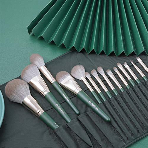 Makeup Brushes, 14 Pcs Premium Makeup Brush Set Synthetic Cosmetics Foundation Powder Concealers Blending Eye Shadows Face Kabuki Makeup Brush Sets (Green)
