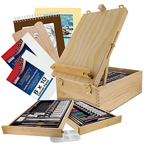 U.S. Art Supply 95 Piece Wood Box Easel Painting Set - Oil, Acrylic, Watercolor Paint Colors and Painting Brushes, Oil Artist Pastels, Pencils - Watercolor, Sketch Paper Pads - Canvas, Palette, Knifes
