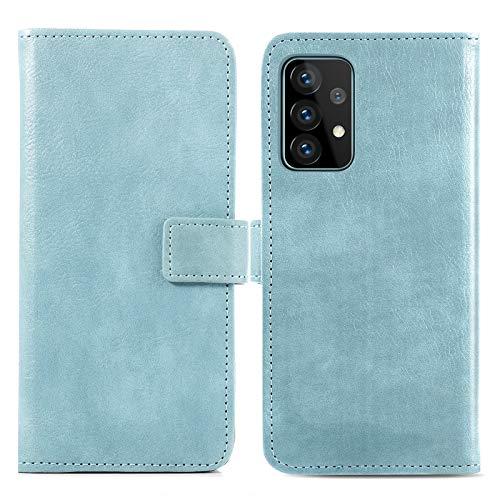 iMoshion kompatibel mit Samsung Galaxy A72 Hülle – Luxuriöse Handyhülle – Handytasche in Hellblau [Mit Ständer, Platz für 3 Karten, Magnetverschluss]