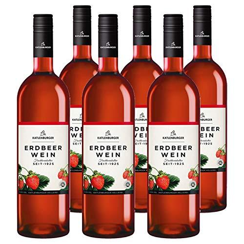 Katlenburger Fruchtwein Erdbeere 6x 0,75l, reiner Fruchtwein, Beerenwein, lieblicher Obstwein mit ausgeprägtem Erdbeergeschmack, 8,5% vol.