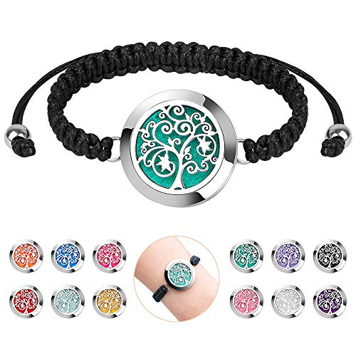 Aromatherapy Essential Oil Diffuser Bracelet - ttstar Jewelry Stainless Steel Locket Adjustable Handmade Woven Wristband Tree of Life Bracelet with 12pcs Washable Refill Pads Birthday Gifts for Women