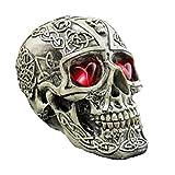 LUOEM Resina Cráneo Humano Réplica Esqueleto Modelo Divertido Disfraces de Halloween Casa Encantada Scary Creepy Prop Decoración de la Mascarada Adornos con Luces LED (Patrón cóncavo-Convexo)