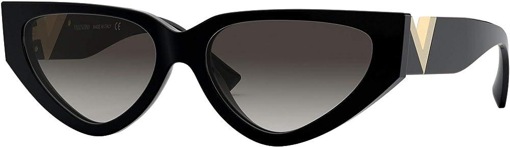 Valentino, occhiali da sole da donna, montatura di colore nero con simobolo v di valentino colore oro sull`ast VA 4063