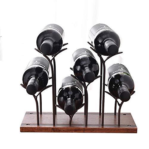 CESULIS Botellas de vino de metal para botellas de vino, soporte de vino de pie, compatible con bar, bodega, soporte plegable para botellas de vino (color: marrón, tamaño: 25 x 34 x 16 cm)
