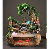 YHshop Fuente de Escritorio/Mesa Fuente de Mesa y Transparente del Acuario de Interior Fuente Cascada Regalo de la decoración, Resina, 40 × 25 × 40 cm Fuente Interior