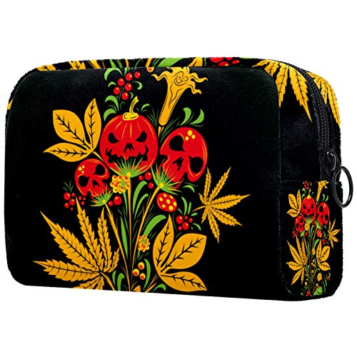 Cosmetic Bag Womens Waterproof Makeup Bag for Travel to Carry Cosmetics Change Keys etc Yellow Skull Flower