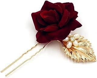 MagiDeal Bridal Rose Flower Hair Pin Stick Handmade Wedding Pearl Hairpins For Brides