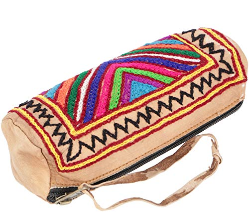 Guru-Shop Bestickte Indische Federtasche aus Leder - Unikat, Herren/Damen, Braun, Size:One Size, Stifttaschen & Tabakbeutel