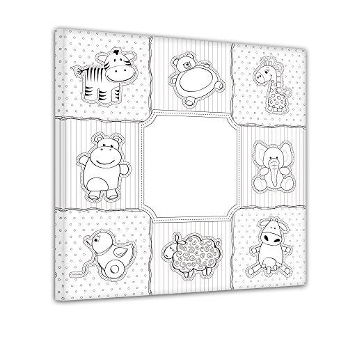 Bilderdepot24 Collage Kuscheltiere - Ausmalbild auf Leinwand, aufgespannt auf Rahmen - Quadrat-Format - 30x30 cm