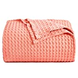 PHF 100% Cotton Waffle Weave Thermal King Size 108'x 90' Blanket for Home Decorations - Breathable, Skin-Friendly, Moisture Absorption Blanket for All Season - Perfect for Couch Bed Sofa Light Coral