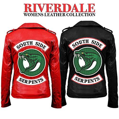 Fashion_First Damen Southside Serpents Riverdale Cheryl Blossom Rot Schwarz Biker Lederjacke Gr. X-Large, Rote Echtlederjacke