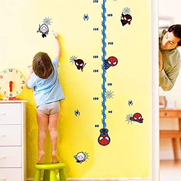1 Piece Cartoon Mini Spider Man Height Chart Ruler Wall Decals For Kids Rooms Wall Art Decor Height Measure Stickers Diy Posters