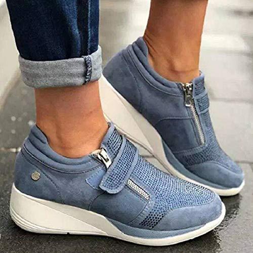 Zapatillas de deporte para mujer con diamantes de imitación y suela gruesa