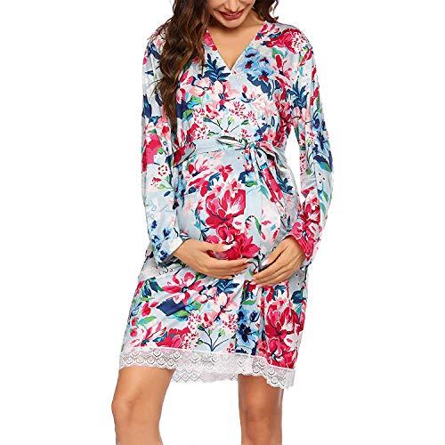 Ropa para Dormir para Premamá Camisón Lactancia Otoño Floral Bata Embarazada Hospital Parto Camisones Vestido de Pijama/M