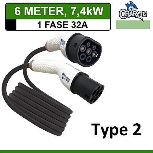 Charqe Premium Ladekabel Typ 2 bis Typ 2 | 6 Meter | Mode 3| 1-Phasig 32A 7.4kW | für EV Elektroauto und PHEV